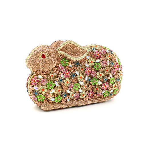 Luxury Flower Crystal Rabbit Shape Handbags Hollow Out Pattern Shoulder