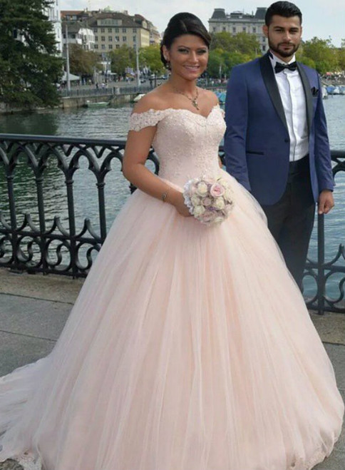Stunning Pink Ball Gown Tulle Off The Shoulder Wedding Dress