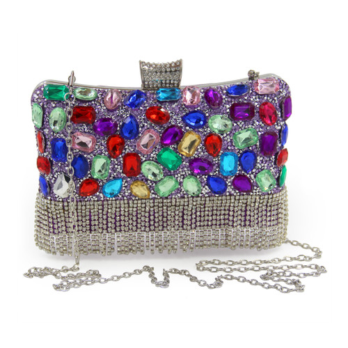 Women Evening Bags Multi Purple Diamond Tassels Party Purse