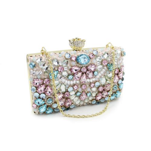 Beaded Clutch Bag Elegant Crystal Rhinestone Diamond Pearl Evening Party