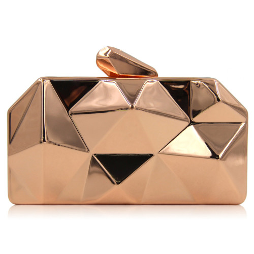 Women Metal Clutches Top Quality Hexagon Mini Party Black Evening Purse