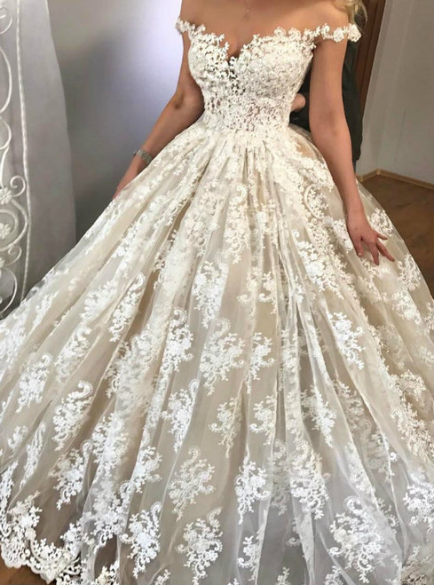 Ivory Ball Gown Tulle Appliques Off The Shoulder Wedding Dress