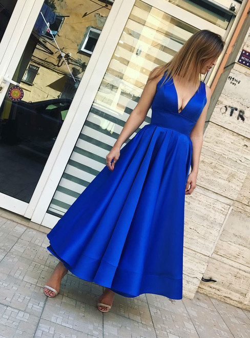 Prom Dress Sleeveless Short Party Gown Simple Royal Blue Satin Ankle Length