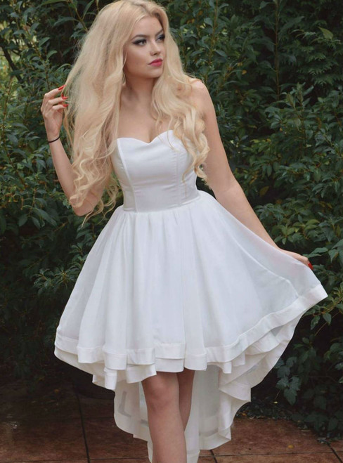 High Low Prom Dresses Long 2018 Simple Sweetheart White