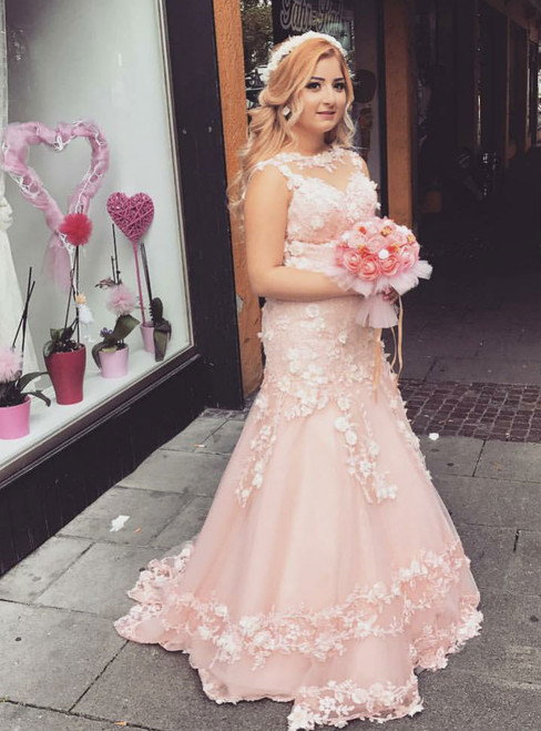 Pink Mermaid Engagement Prom Dresses Long 2018 3D Floral Appliques