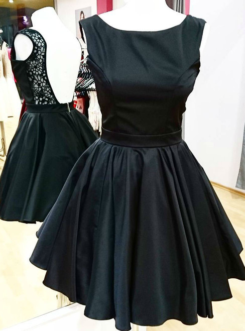 Short Satin Homecoming Party Gowns Backless Little Black Dress