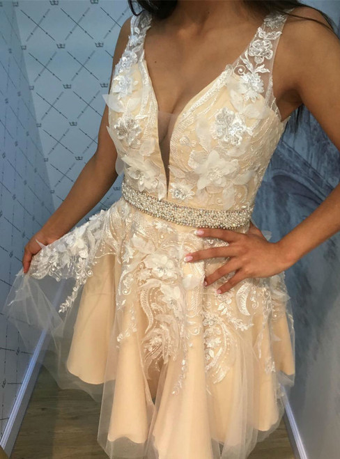 3D Floral Lace Appliques Sexy Sleeveless Deep V neck Short Homecoming Prom Dress with