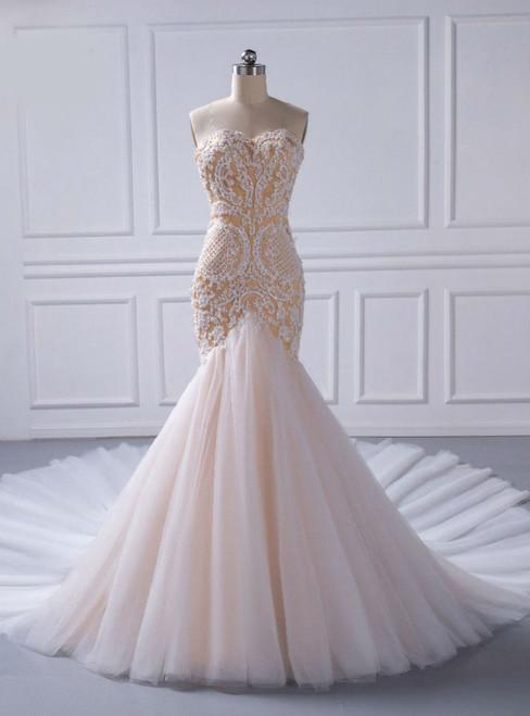 Bridal Gown Custom Made Mermaid Champagne Beaded Wedding Dresses