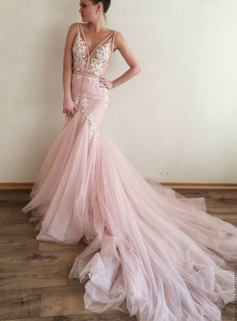 Deep V-neck Royal Train Wedding Bridal Gowns for Women Sexy Mermaid Wedding Dresses for Bride