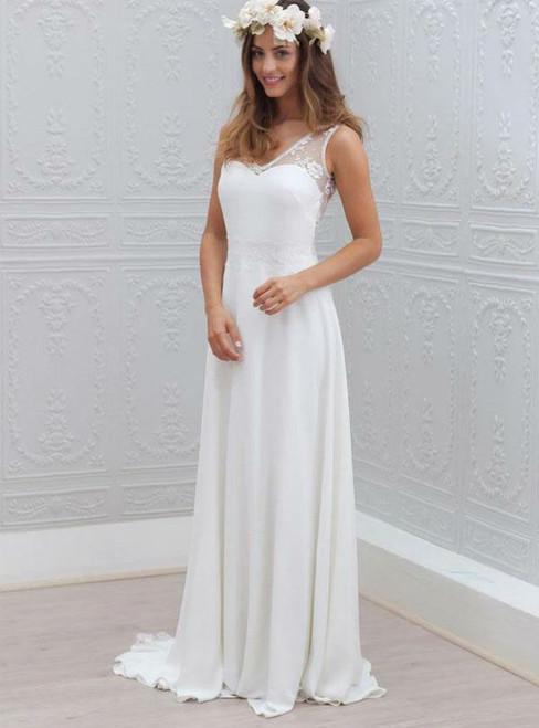 Open Back Bridal Dress Chiffon V-Neck Wedding Gowns Lace Sleeveless White Wedding Dress