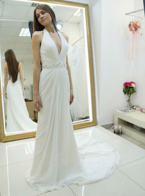 Chiffon Wedding Dress with Beading Halter Wedding Gown Backless Wedding Dress With Sweep Train