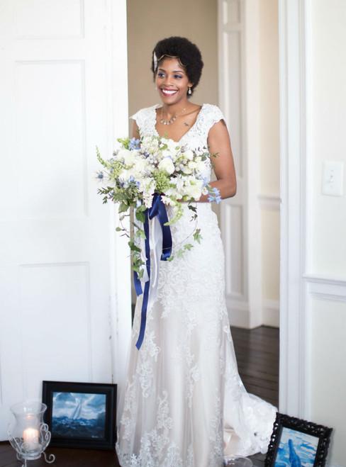 Cap Sleeves Wedding Dresses Lace Appliques Mermaid Wedding Bridal Gowns