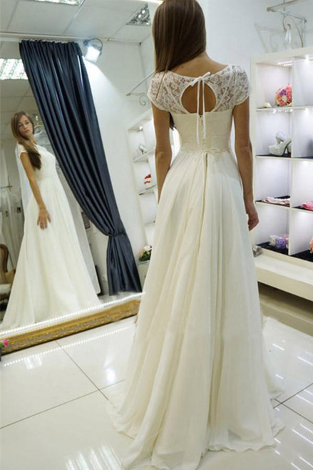 Bateau Wedding Gown Sweep Train Wedding Dresses Cap Sleeves Wedding Dress with Lace Ivory