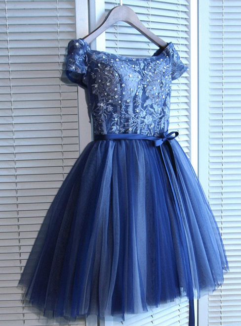 Off-the-shoulder Short/Mini Prom Dress Juniors Homecoming Dresses