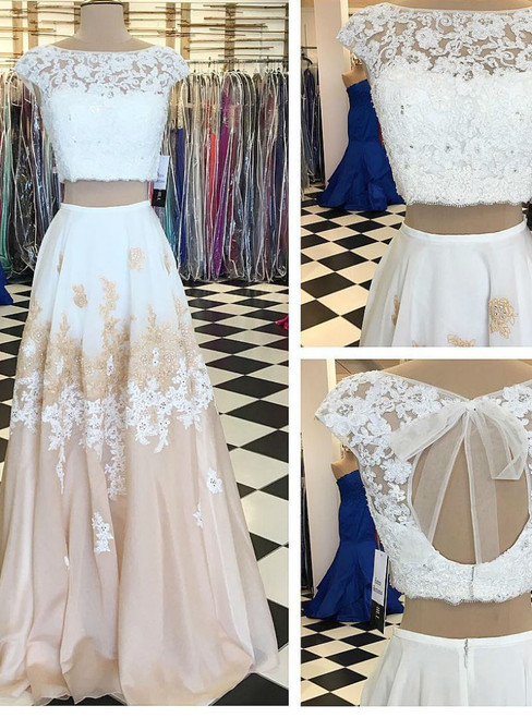 Prom Dress with Open Back A-line Two Piece Long Floor Length