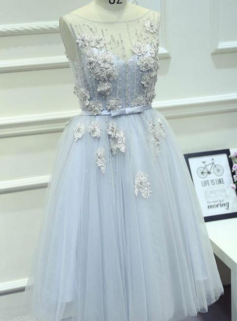 Short Prom Dress Juniors Homecoming Dresses A-line Bateau Tulle