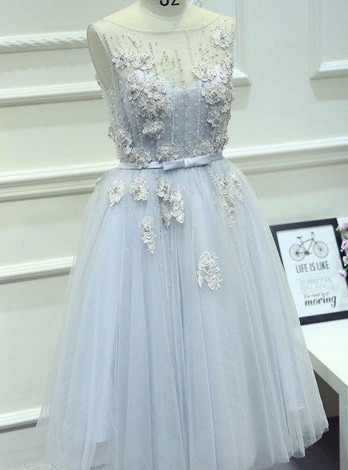 Short Prom Dress Juniors Homecoming Dresses A-line Bateau Tulle