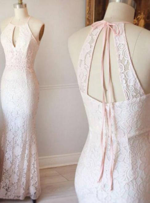 Halter Prom Dress Pink Lace Prom Dress Mermaid Evening Dress