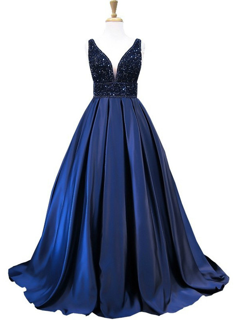 New Style Blue Satin Beading Bodice Backless Evening Dress Formal Gowns