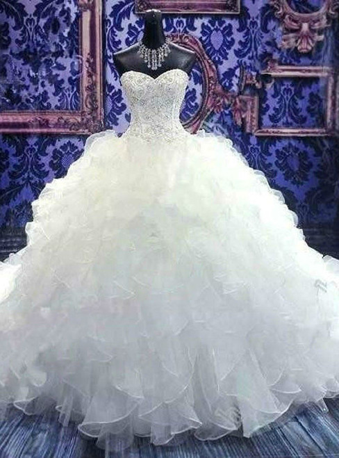 Fancy White/Ivory Strapless Organza Beading Wedding Dress Bridal Gown