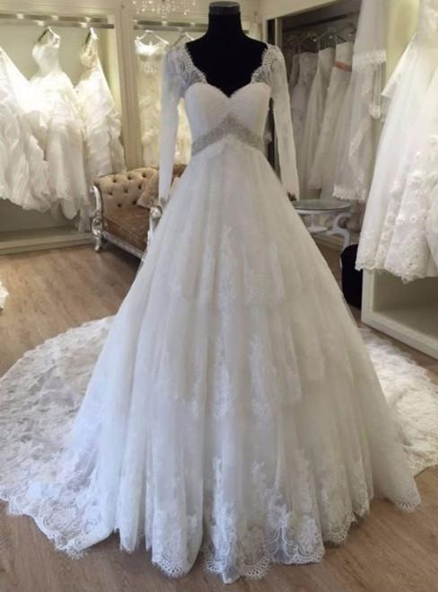 Long Sleeve V Neck Wedding Dress Backless Cheap Train Crystal Beading