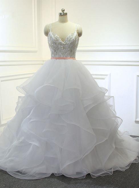 Design Organza Ruffles With Embroidery Beading Bodice Bridal Wedding Dress