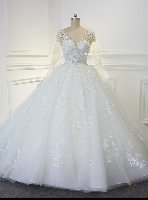 Luxury Shinny Beading Bling Bling Wedding Dress Actual Photos Sexy Transparent Bodice Bridal Dress
