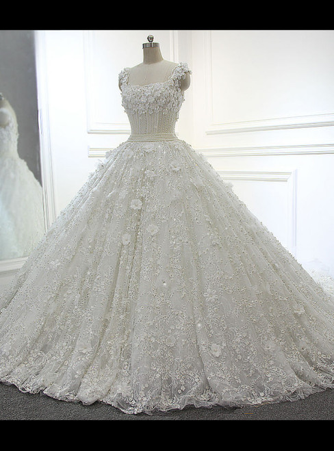 Fairy Tale Full Beading Luxury Ball Gown White/Ivory Wedding Dresses