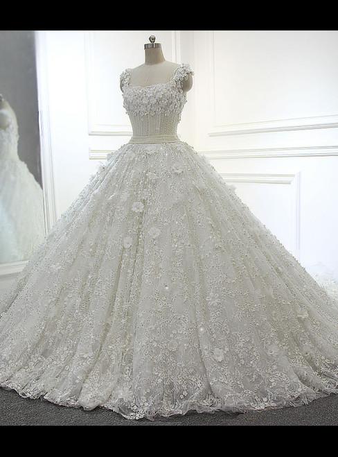 Fairy Tale Full Beading Luxury Ball Gown White/Ivory Wedding Dresses