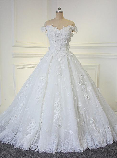 Amazing Beautiful Flowers Handmade Off The Shoulder Straps Bridal Dress