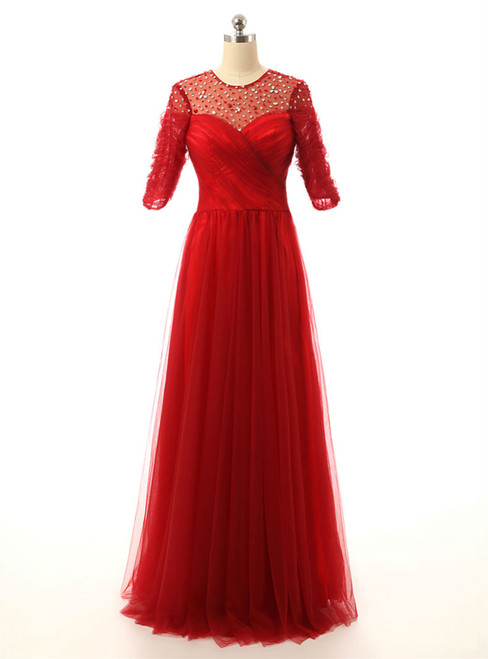 A line Half Sleeves Beaded Tulle Floor Length Red Mother Of The Bride Dresses