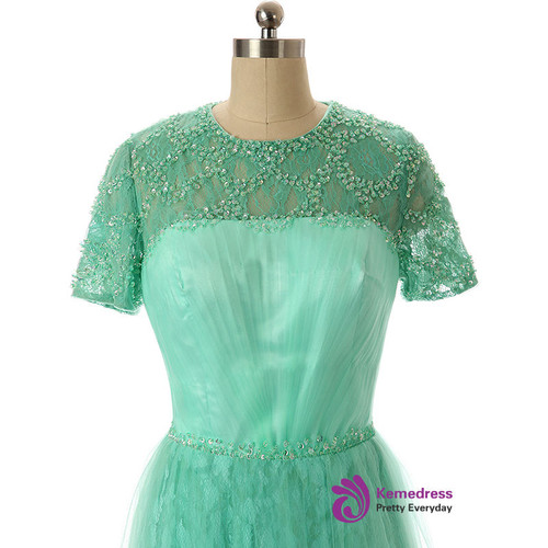 2017 A Line Short Sleeve Sequined Lace Mother Of The Bride Dresses