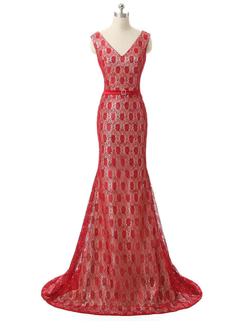 2017 Mermaid V Neck Floor Length Red Lace Mother Of The Bride Dresses