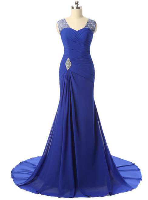 2017 Mermaid V Neck Cap Sleeve Long Mother Of The Bride Dresses