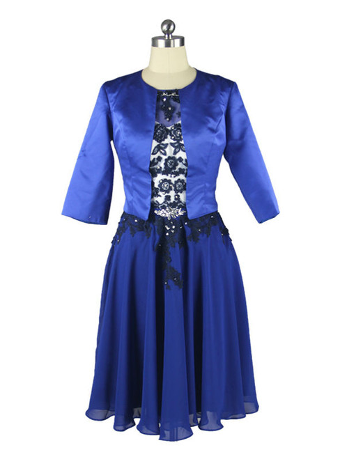 2017 Beaded Lace Chiffon Knee Length Blue Mother Of The Bride Dresses