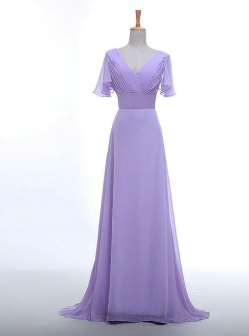 V-neck Short Sleeve Chiffon  Long Women Elegant Lavender Color