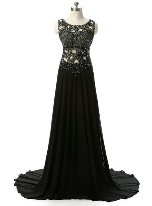 Elegant Black Long Evening Dresses Beading Chiffon Sleeveless