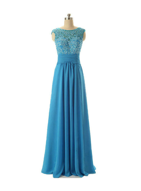 Cap Sleeve Lace Chiffon Floor Length Mother of The Bride Dress