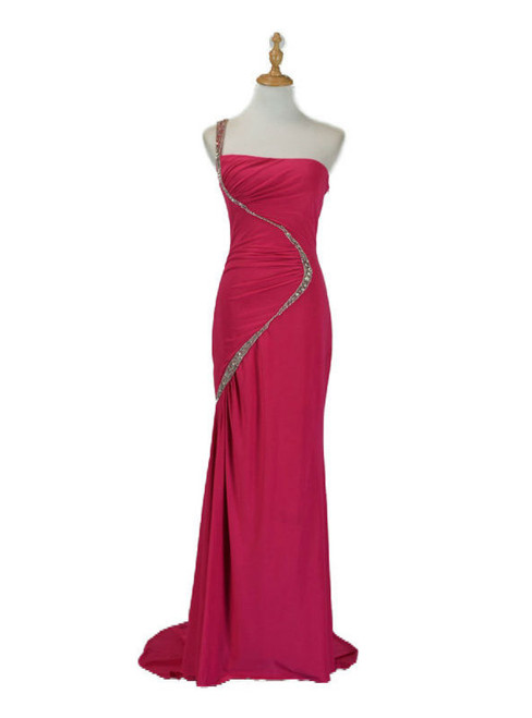 2017 Beaded Chiffon One Shoulder Wedding Party Evening Dress Mother of The Bride Dress