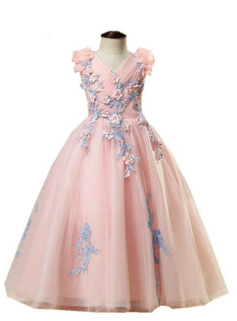 A-line Pink Color Tulle Appliques Floor Length Flower Girl Dresses