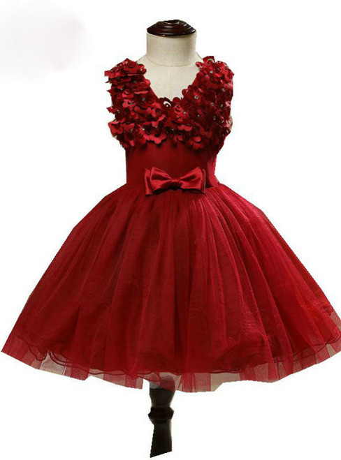 V-neck Pretty Wine Red Color Flower Girl Dresses With Bow Ball Gowns