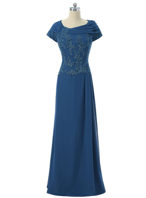 A-line Cap Sleeves Royal Blue 2017 Mother Of The Bride Dresses