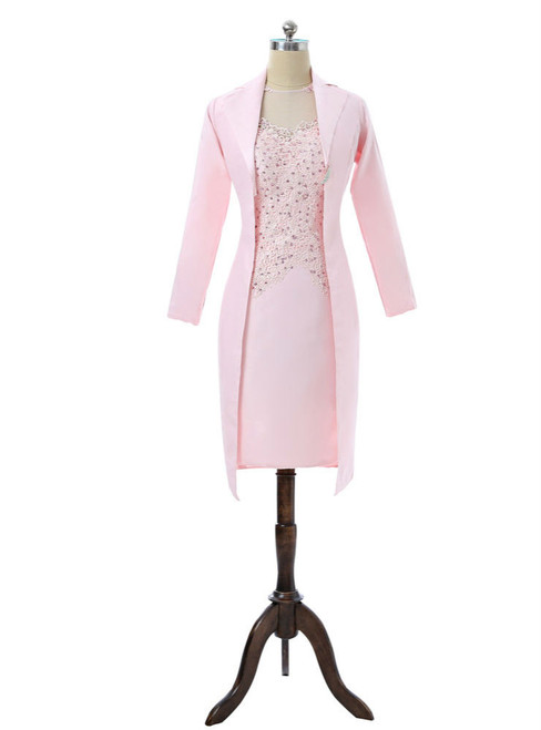 Pink 2017 Mother Of The Bride Dresses Sheath Knee Length With Jacket