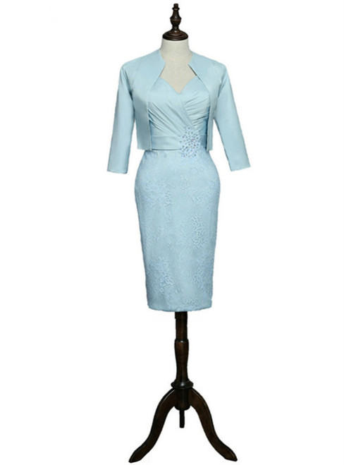 Knee Length With Jacket  Blue 2017 Mother Of The Bride Dresses Sheath