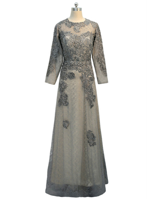 A-line Long Sleeves Gray 2017 Mother Of The Bride Dresses