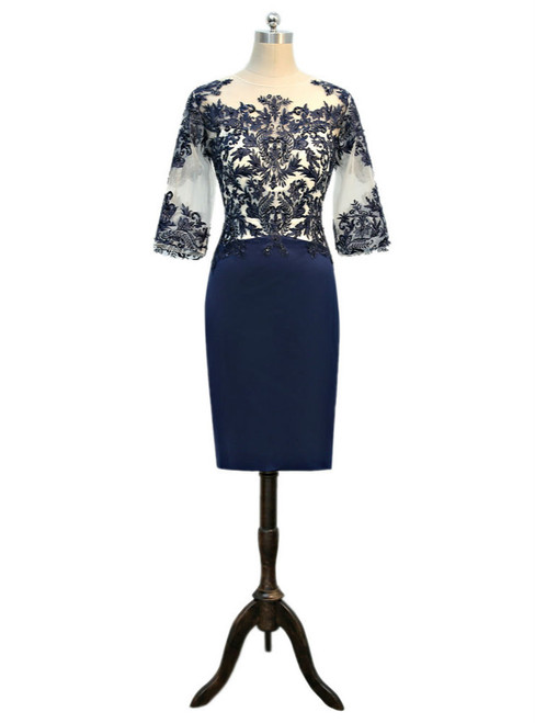 2017 Mother Of The Bride Dresses Sheath 3/4 Sleeves Navy Blue