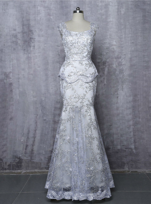 Mermaid Cap Sleeves Lace Silver 2017 Mother Of The Bride Dresses