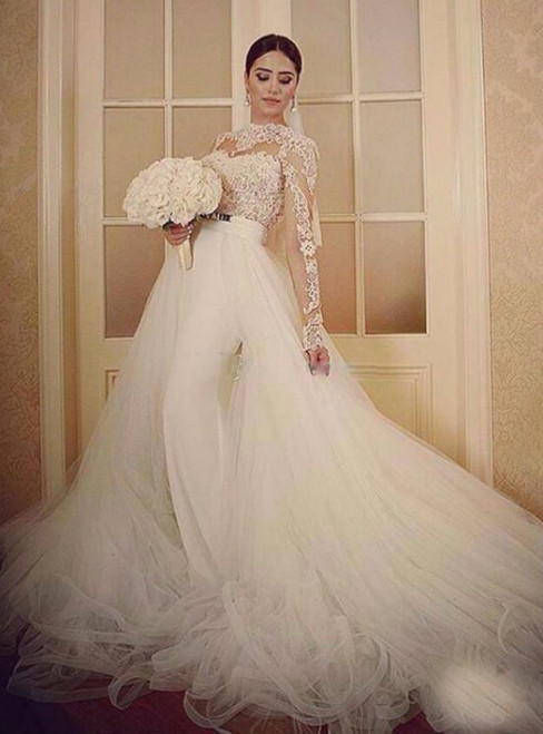 White Tulle Lace Backless Long Sleeve Wedding Dress