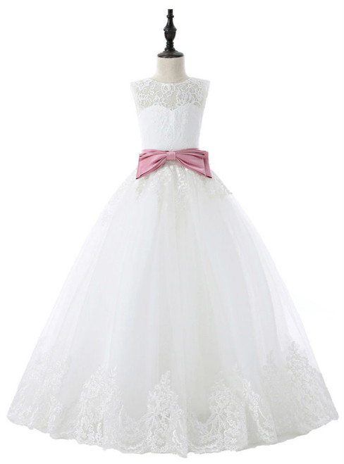 2017 Flower Girl Dresses For Weddings Ball Gown Tulle Appliques
