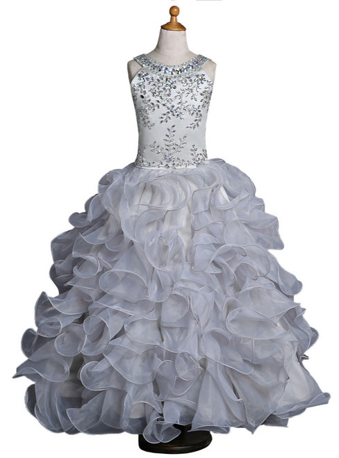 Organza Ruffles  Gray 2017 Girls Pageant Dresses For Weddings Ball Gown